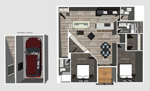 2 bedroom apartment Lincoln NE Alexander floor plan at North Pointe Villas