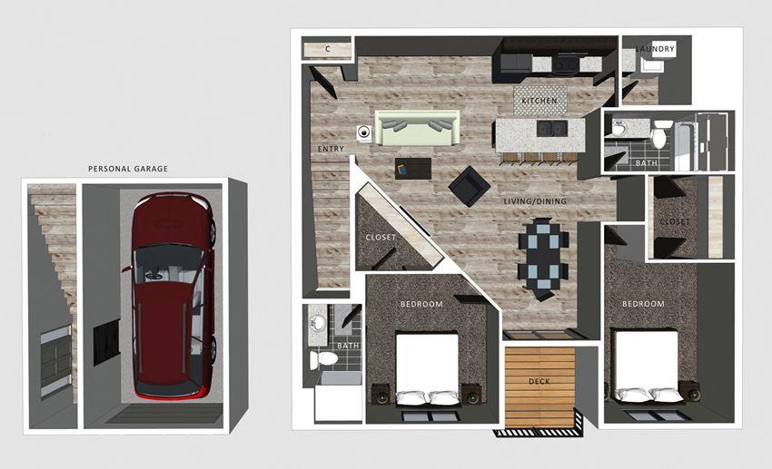 2 bedroom apartment Lincoln NE Alexander floor plan at North Pointe Villas