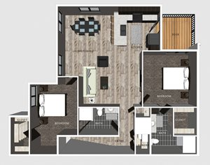 2 bedroom apartment Baldwin floor plan-North Pointe Villas