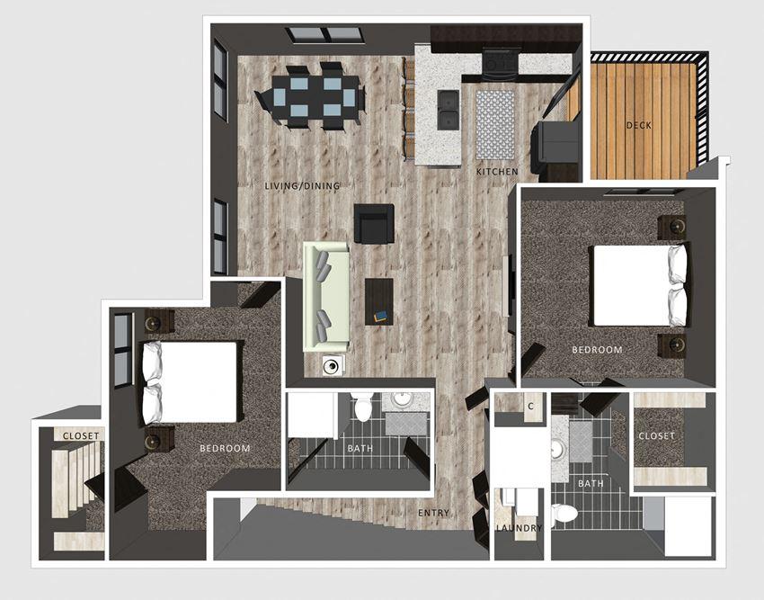 2 bedroom apartment Baldwin floor plan-North Pointe Villas