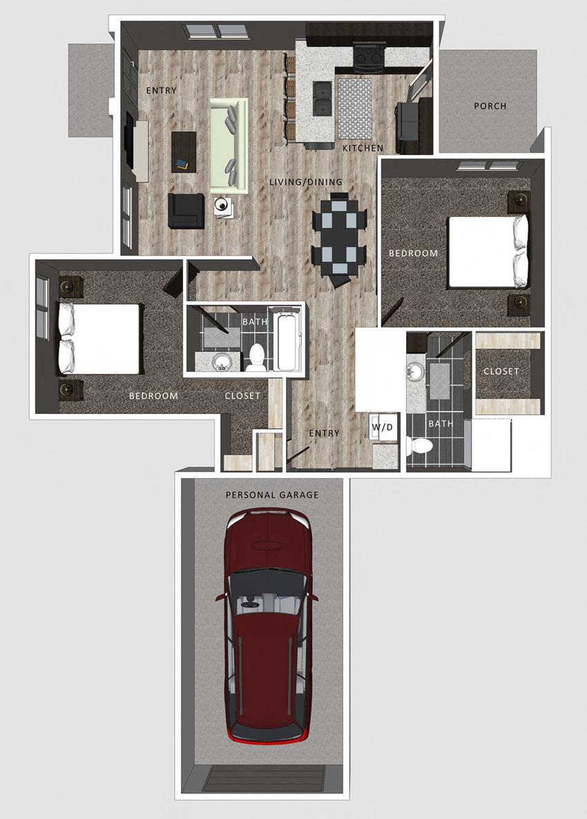 2 bedroom apartment Camden floor plan-North Pointe VIllas