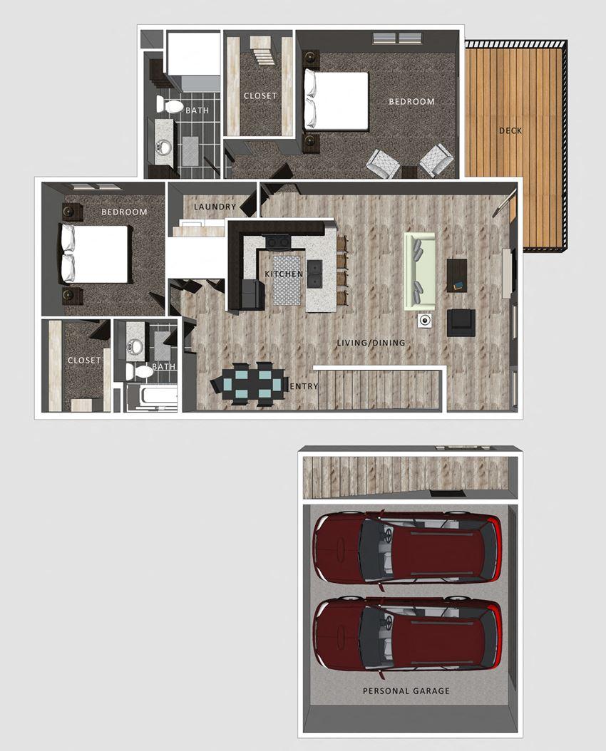 2 bedroom apartment Katie floor plan at North Pointe Villas Lincoln NE