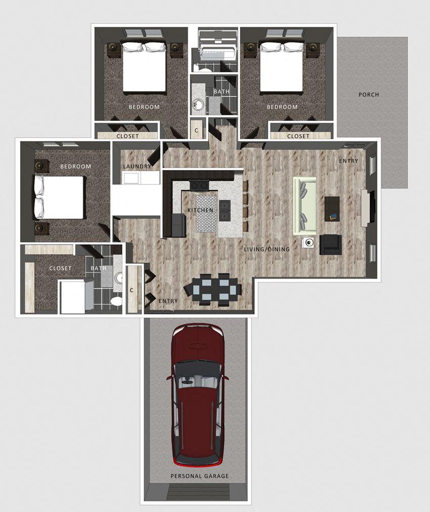 3 bedroom apartment Harper floor plan-North Pointe Villas Lincoln NE