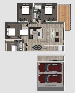 3 bedroom apartment Jameson floor plan-North Pointe Villas Lincoln NE