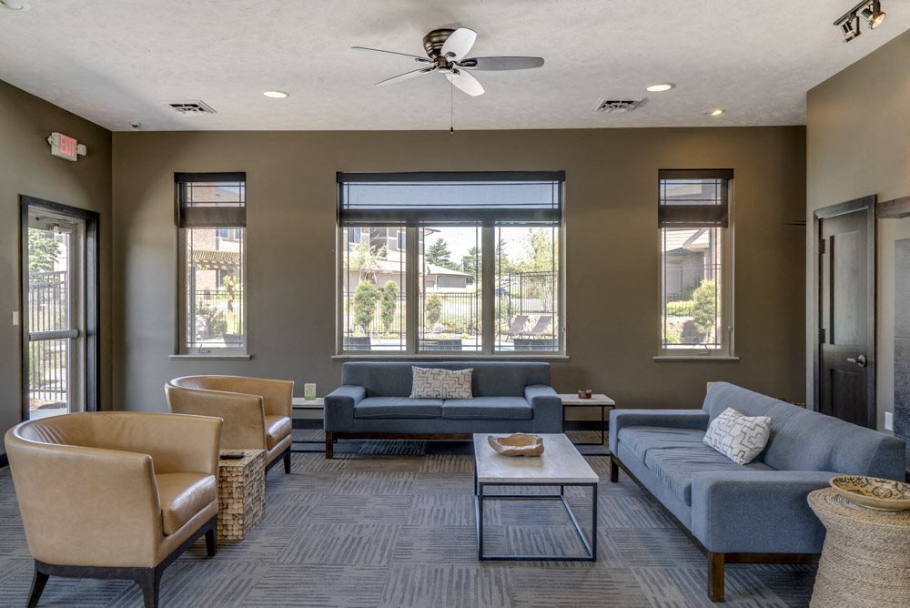 East clubhouse with TV lounge at North Pointe Villas luxury townhomes in north Lincoln NE