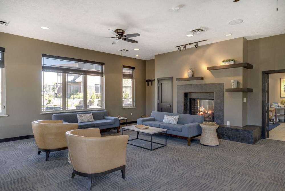 Resident lounge with fireplace at North Pointe Villas luxury townhomes in north Lincoln NE