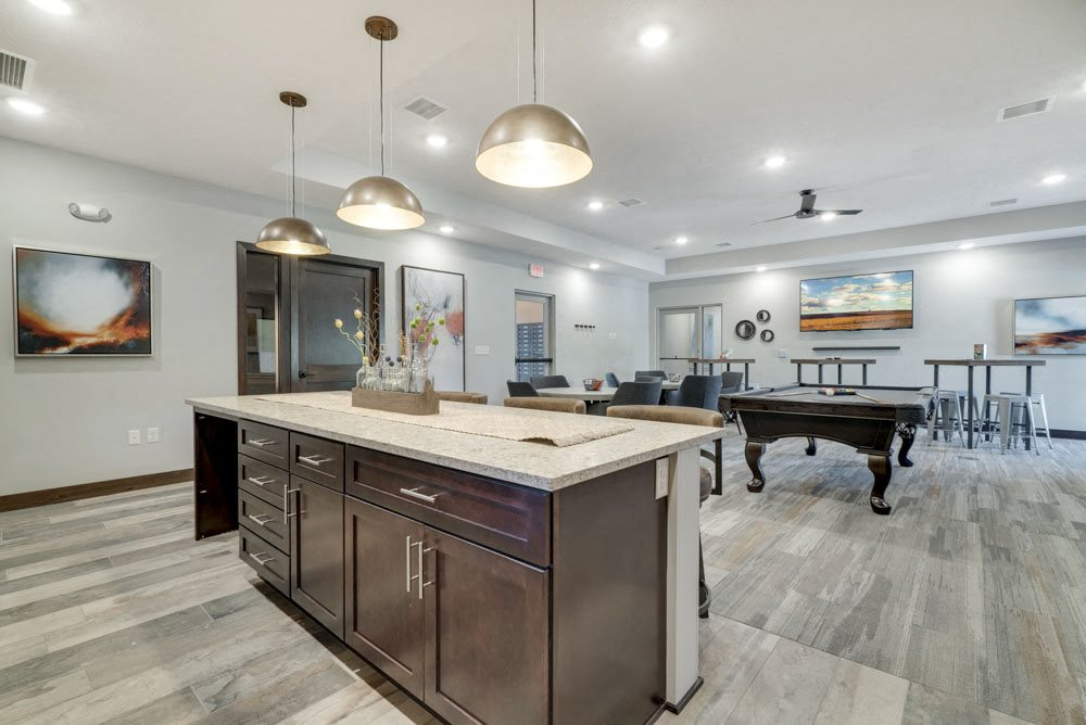 New west clubhouse with kitchen and game room at North Pointe Villas luxury apartments near 14th and Fletcher in Lincoln