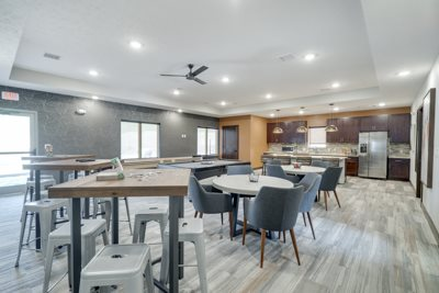 New west clubhouse at North Pointe Villas luxury apartments and townhomes in north Lincoln NE