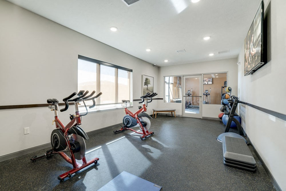 Yoga and spin studio at North Pointe Villas luxury apartments new clubhouse near 14th and Fletcher