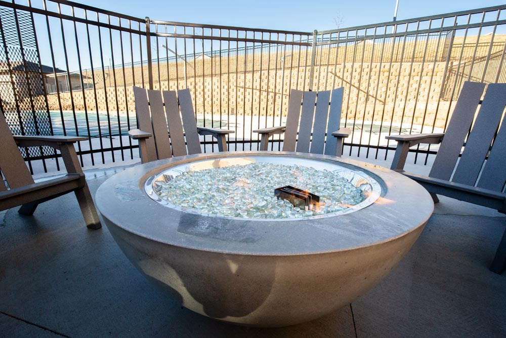 Outdoor firepit at North Pointe Villas luxury apartments in north Lincoln NE 68521