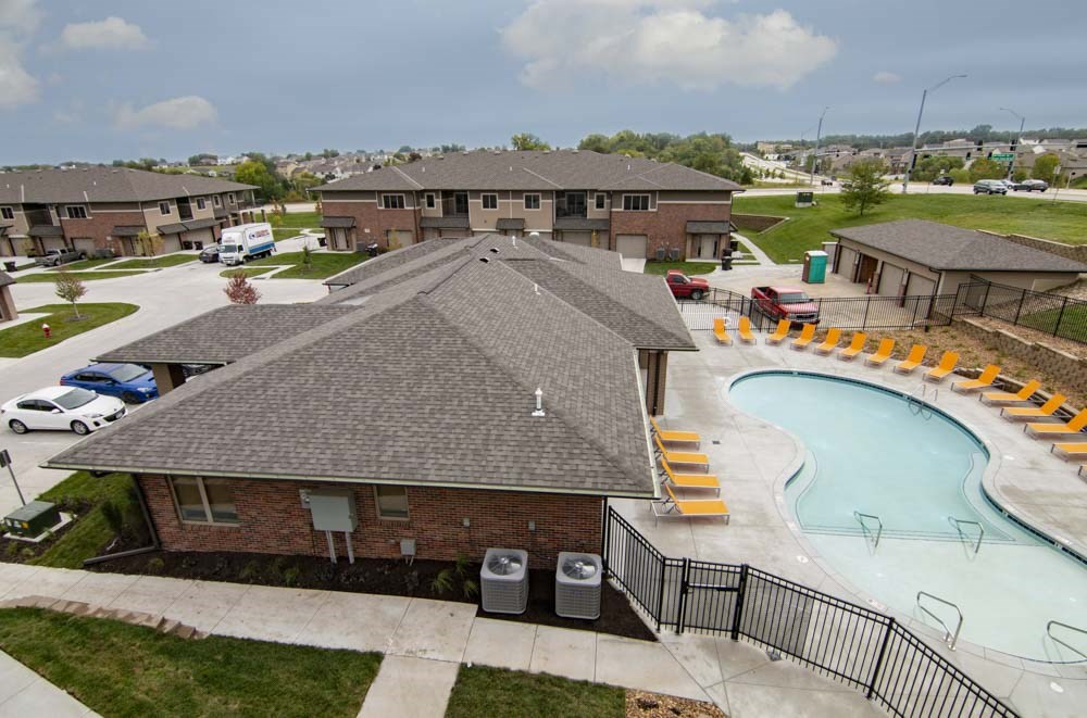 Resort-style pool view at North Pointe Villas luxury townhomes and apartments in Lincoln NE