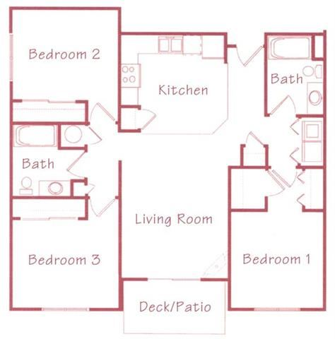 Aspen three bedroom two bathroom Floorplan at Northridge Heights Apartments