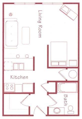 Bonsai studio one bathroom Floorplan at Northridge Heights Apartments