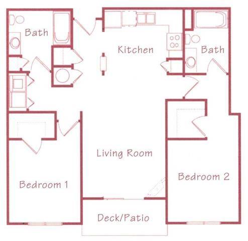 Cypress two bedroom two bathroom Floorplan at Northridge Heights Apartments