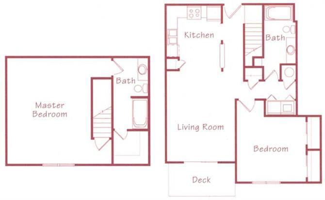Evergreen two bedroom two bathroom Floorplan at Northridge Heights Apartments