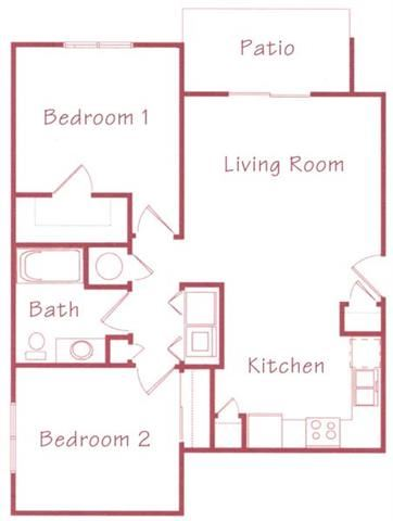 Linden two bedroom one bathroom Floorplan at Northridge Heights Apartments