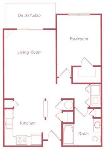 Maple one bedroom one bathroom Floorplan at Northridge Heights Apartments