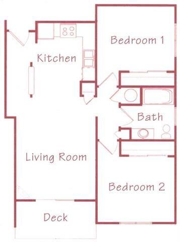 Redwood two bedroom one bathroom Floorplan at Northridge Heights Apartments