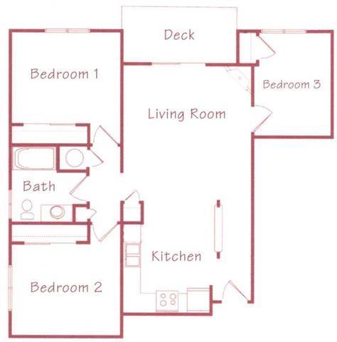 Sequoia two bedroom one bathroom Floorplan at Northridge Heights Apartments