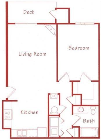 Spruce one bedroom one bathroom floor plan at Northridge Heights Apartments