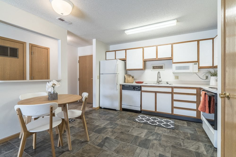Interiors-Large 2-bedroom kitchen with dining area