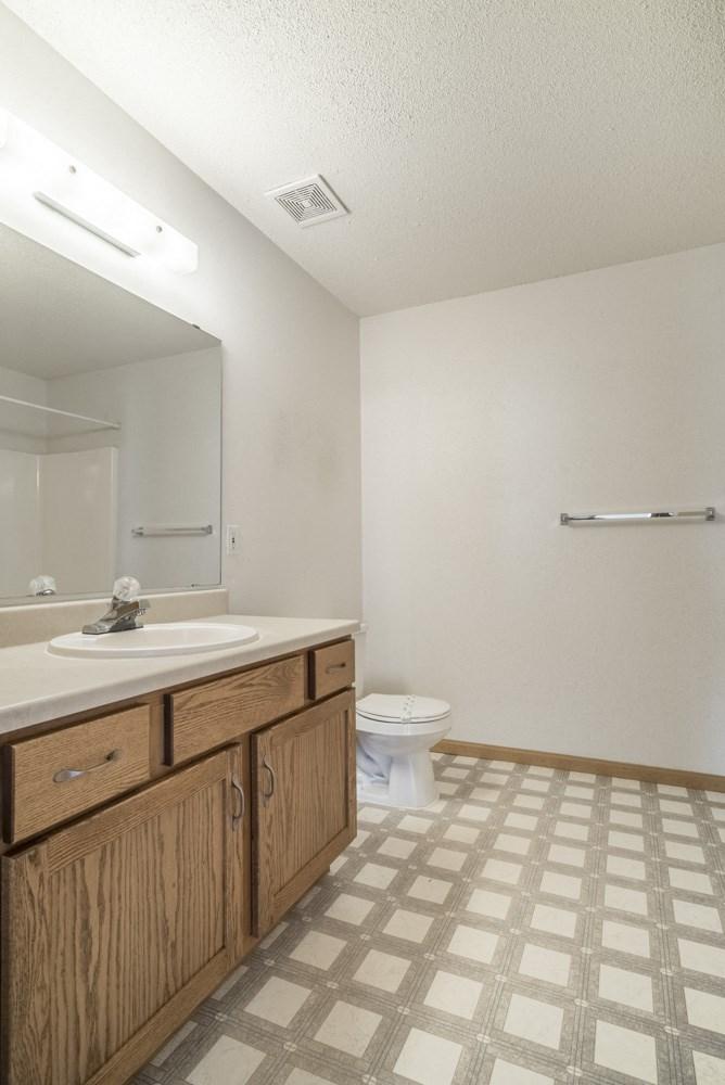 Interiors-Large master bathroom in 3-bedroom apartment
