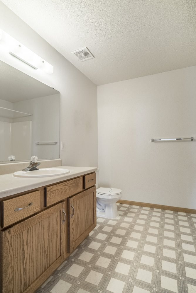 Interiors-Large master bathroom in 3-bedroom apartment