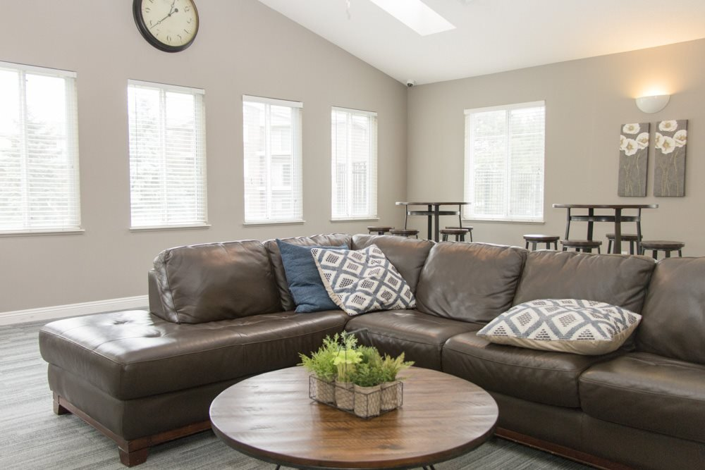 Interiors-Clubhouse with sectional couch for residents to hang out at Northridge