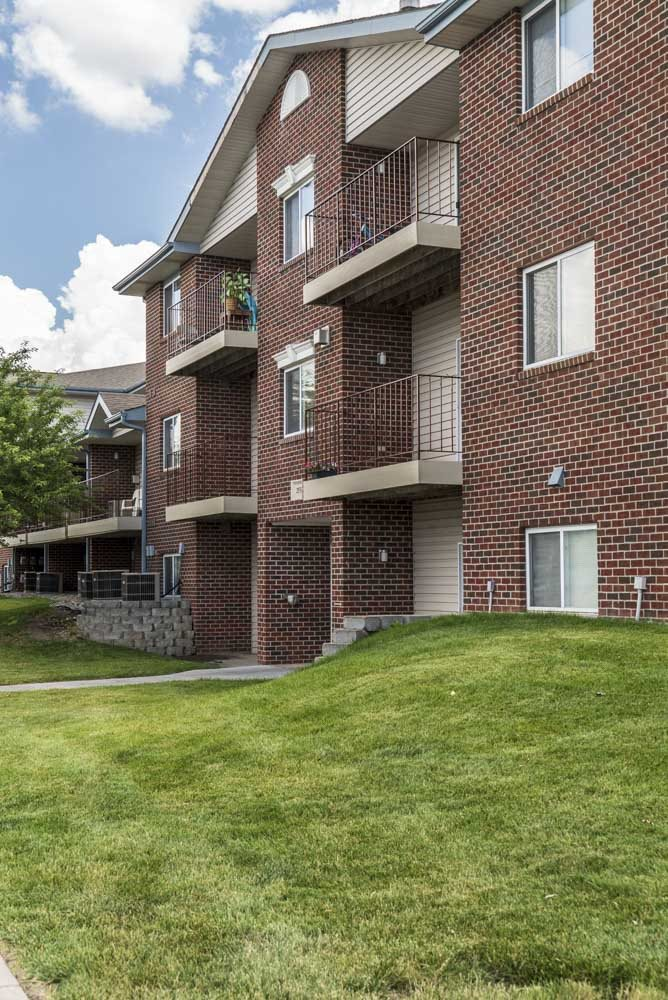 Exterior view of balconies at Northridge Heights Apartments