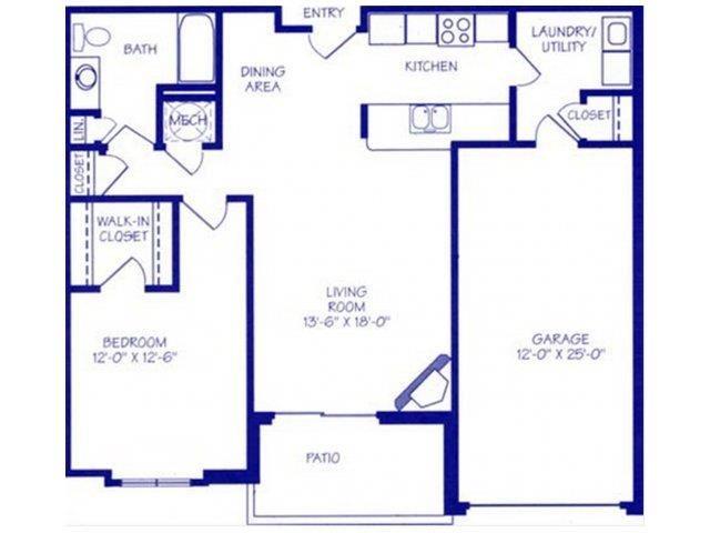 The Bay I one bedroom one bathroom floorplan at Northbrook Apartments