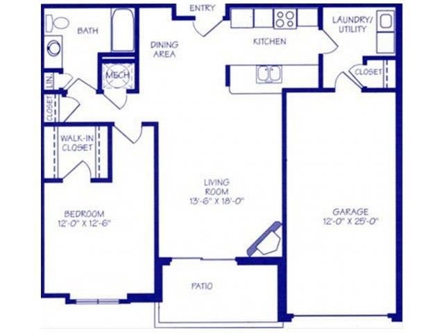 The Bay II one bedroom one bathroom Floorplan at The Northbrook Apartment Homes