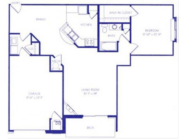 The Cove II one bedroom one bathroom Floorplan at The Northbrook Apartment Homes