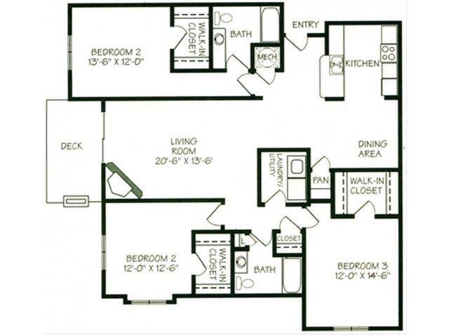 The Glacier II three bedroom two bathroom Floorplan at The Northbrook Apartment Homes
