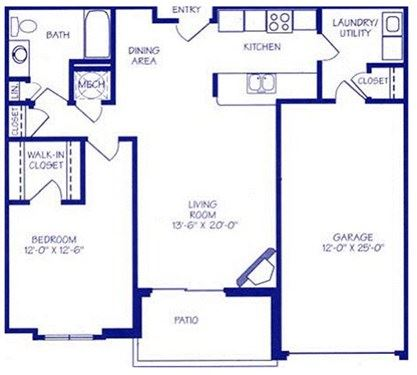 The Gulf III one bedroom one bathroom floorplan at Northbrook Apartments