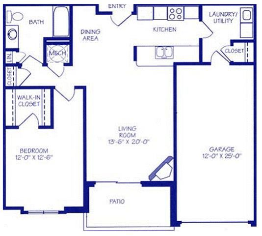 The Gulf II one bedroom one bathroom Floorplan at The Northbrook Apartment Homes