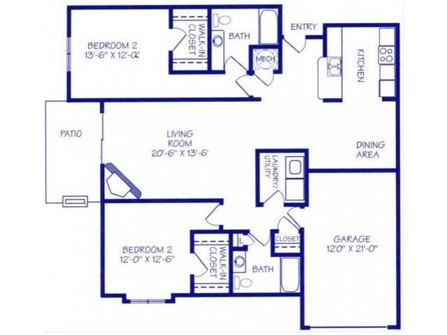 The Harbor I two bedroom two bathroom floorplan at Northbrook Apartments