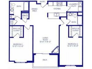 The Rapids II Floorplan at The Northbrook Apartment Homes