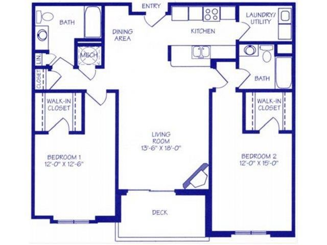 The Rapids II two bedroom two bathroom Floorplan at The Northbrook Apartment Homes