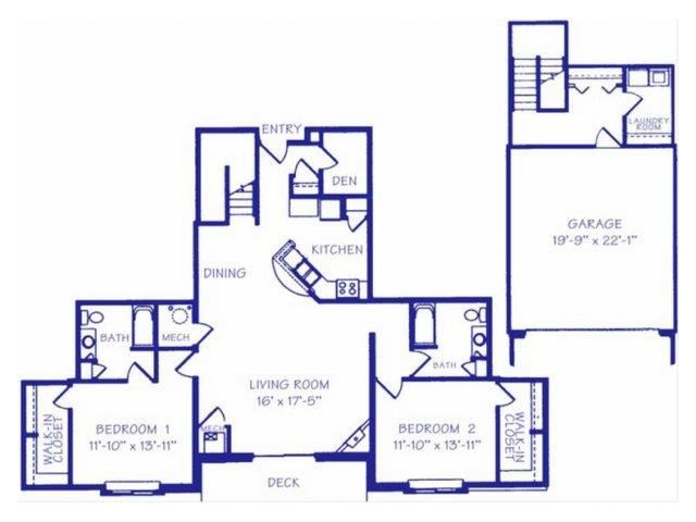 The Reservoir II two bedroom two bathroom Floorplan at The Northbrook Apartment Homes