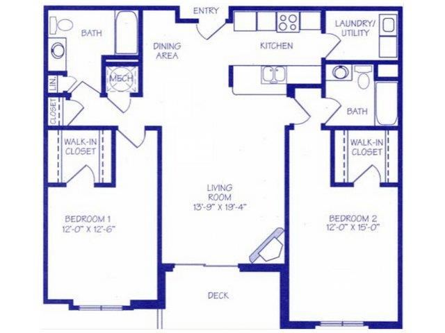 The River II two bedroom two bathroom Floorplan at The Northbrook Apartment Homes