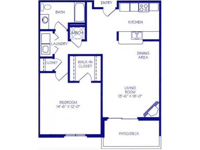 The Spring I one bedroom one bathroom floorplan at Northbrook Apartments
