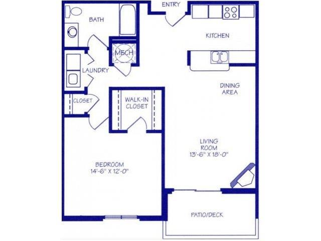 The Spring II one bedroom one bathroom Floorplan at The Northbrook Apartment Homes