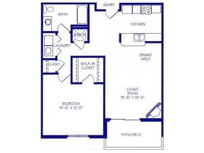 Stream III one bedroom one bathroom floorplan at Northbrook Apartments