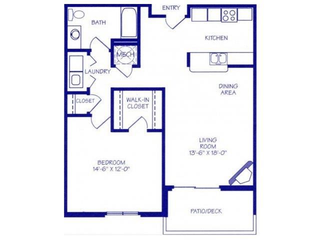 The Stream II one bedroom one bathroom Floorplan at The Northbrook Apartment Homes