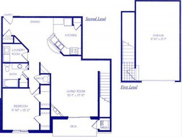 The Waterfall II one bedroom one bathroom Floorplan at The Northbrook Apartment Homes