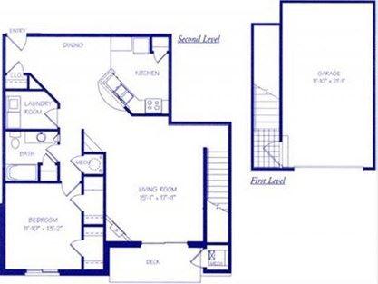 The Waterfall III one bedroom one bathroom Floorplan at The Northbrook Apartment Homes