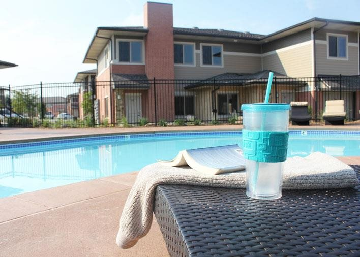 Exteriors-pool area at Villas at Wilderness Ridge in Lincoln Nebraska