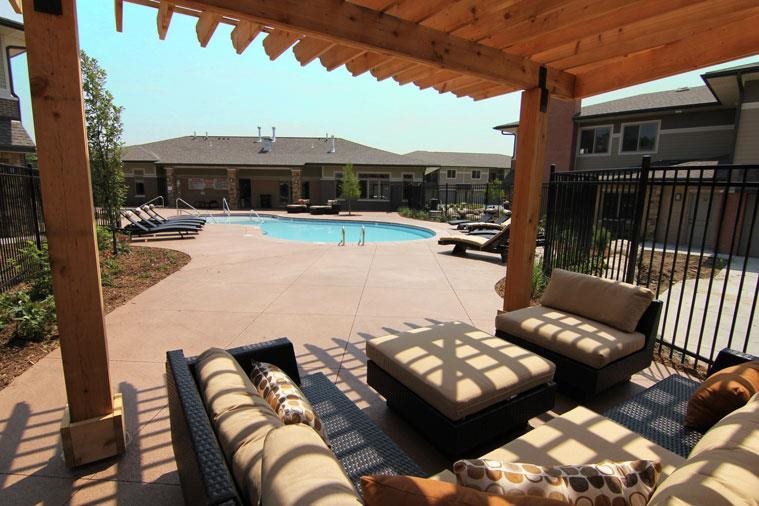 cabana area by pool at Villas at Wilderness Ridge in Lincoln Nebraska