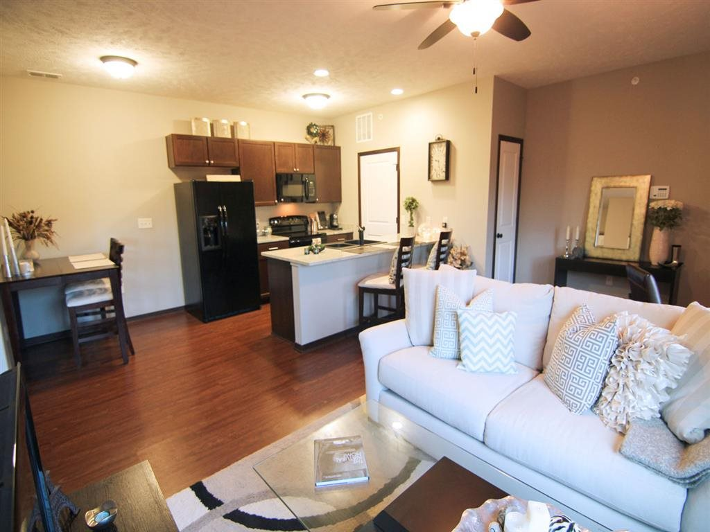 apartment with hardwood flooring at Villas at Wilderness Ridge in Lincoln Nebraska