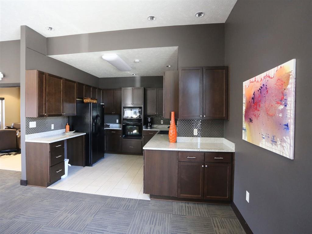 clubhouse kitchen at Villas at Wilderness Ridge in Lincoln Nebraska
